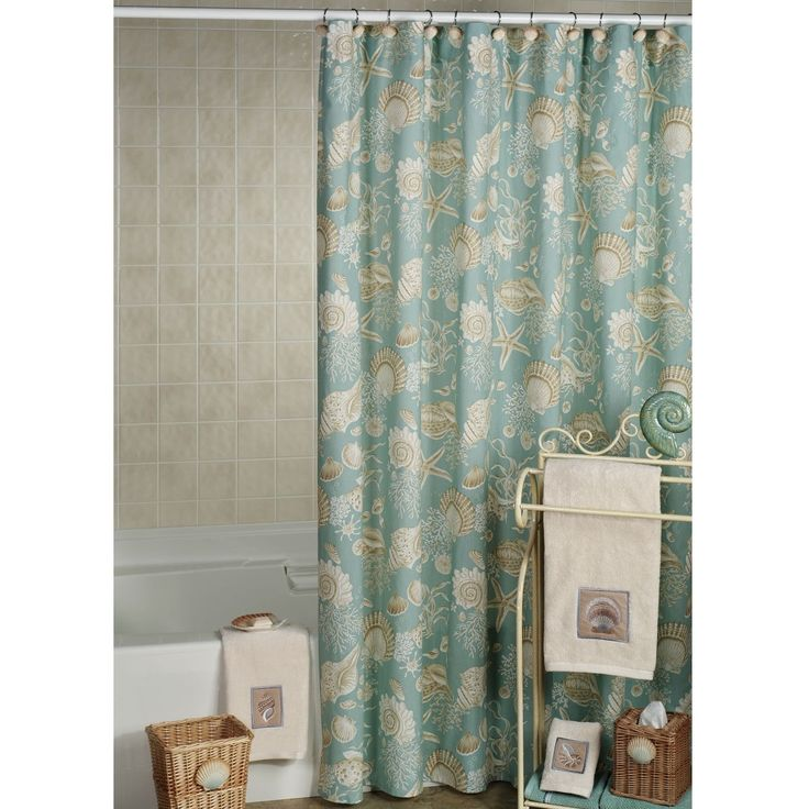 A Beachcombers Paradise, The Natural Shells Shower Curtain Features  Natural Colored Seashells, Starfish, Coral, And Sand Dollars On A Solid  Aqua Background.