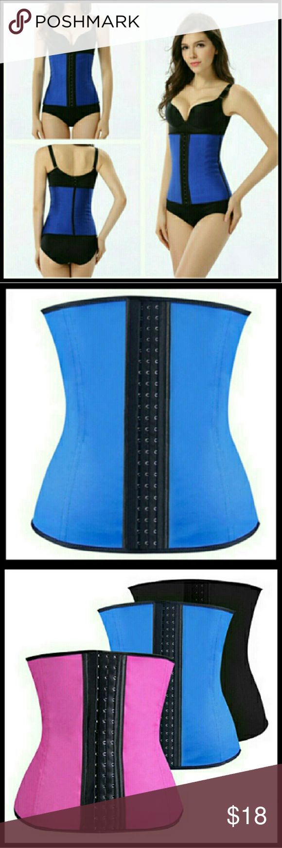 """Sz L Waist Trainer Corset Cincher Curvy Blue sz large waist trainer. Corset / bra style hook closure in the front. Good for a fun curvy look! :)  Also have same size in pink!  Available in pink, blue, and purple in sizes small, large, and extra extra large, as well, find them in my other listings! :)  Size chart:  *Large- Waist: 28- 31""""               Hip: 39- Intimates & Sleepwear Shapewear"""