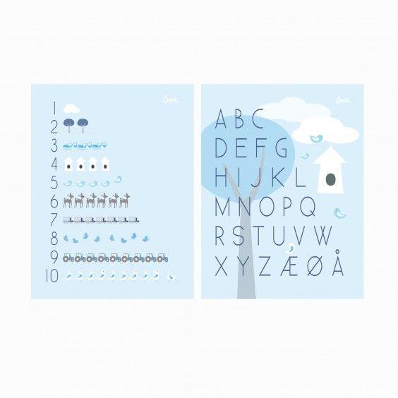 Print 2-pack (ABC, 1-10) BLUE #poster #plakat #barnerom #babyrom #interiør #lillemeg