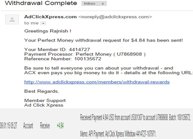 """""""I WORK FROM HOME less than 10 minutes and I manage to cover my LOW SALARY INCOME. If you are a PASSIVE INCOME SEEKER, then AdClickXpress (Ad Click Xpress) is the best ONLINE OPPORTUNITY for you.""""for more details:- 8699814986 to join click http://adclickxpress.com/?r=9cpb7sgushm&p=aa"""