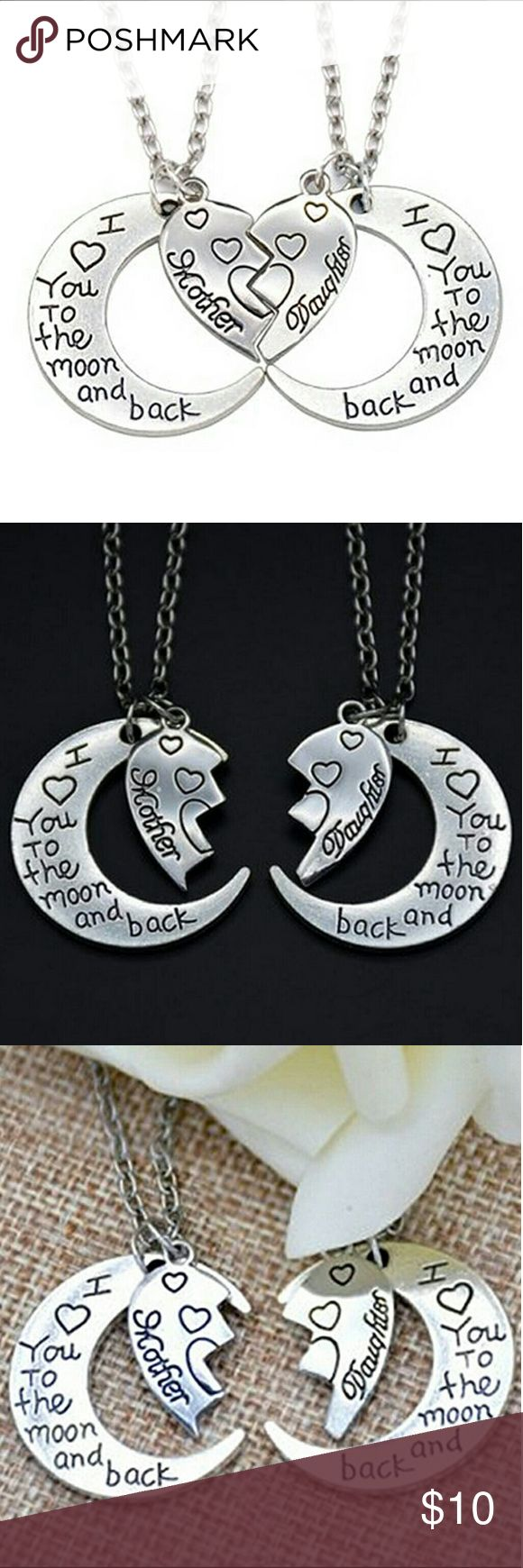"""*2 Pc Set* Mother Daughter Necklaces Family Girls 2 piece set of necklaces, perfect as a mother's day gift :) Both have a crescent moon pendant that says """" I love you to the moon and back """", and a broken / interlocking heart, one says mother, one says daughter. Both on a 17"""" adjustable chain with lobster claw closure. Jewelry Necklaces"""