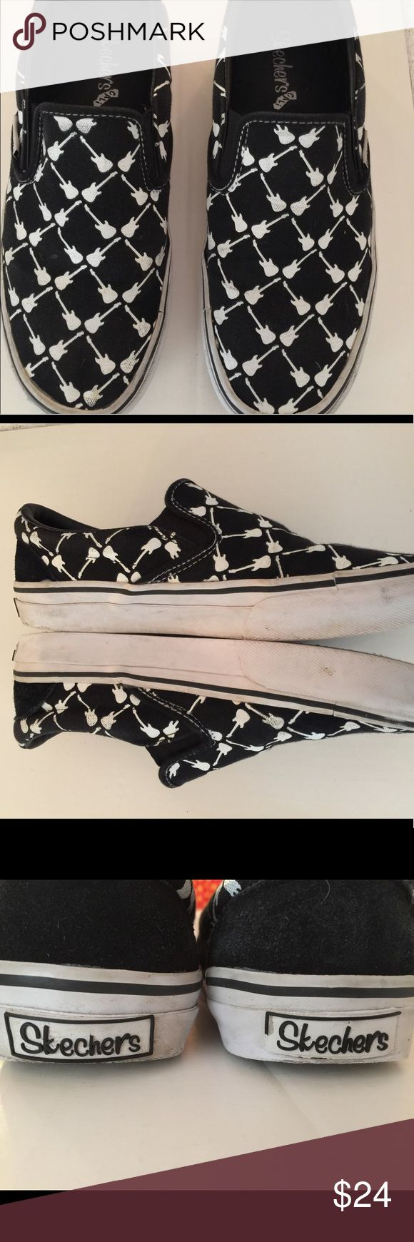 Mens guitar Skechers sneakers Slip on (unisex) Black and white sneakers, with guitar  pattern .mens 10 (seem like 9.5) woman's 11. sketchers Shoes Athletic Shoes