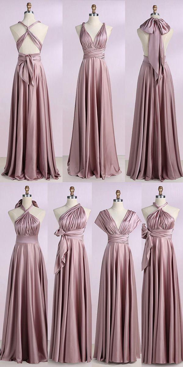 cheap prom dresses, v neck prom dresses, blush prom dresses, long prom dresses, simple bridesmaid dresses, multi wear prom dresses @dresstell