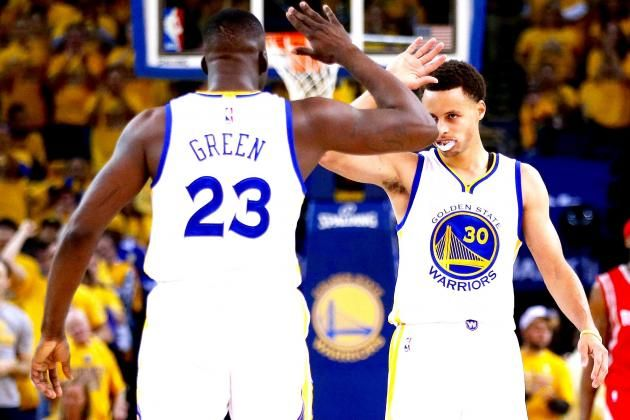 May 19, 2015 - Houston Rockets vs. Golden State Warriors: Live Score and Analysis for Game 1, was not an easy game, both teams played aggressively, and with the intention to WIN. Draymond Green #23 and Stephen Curry #30 of the Golden State Warriors celebrate in the second quarter against the Houston Rockets during Game One. Golden State Warriors rallied to defeat the Houston Rockets, 110-106, at Oracle Arena.