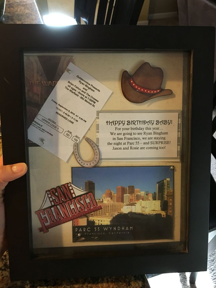 Birthday gift -- concert tickets and a hotel room, put together in a shadow box to open up