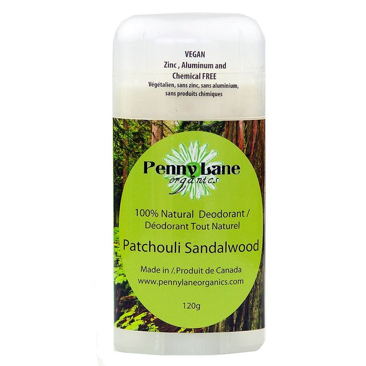 Natural, Vegan, Patchouli Sandalwood deodorant. Contains only 5 ingredients! From Guelph, Ontario. It really works!