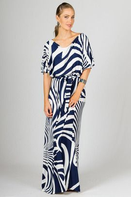 Chloe Maxi Dress - Navy Graphic by Paper Scissors Frock