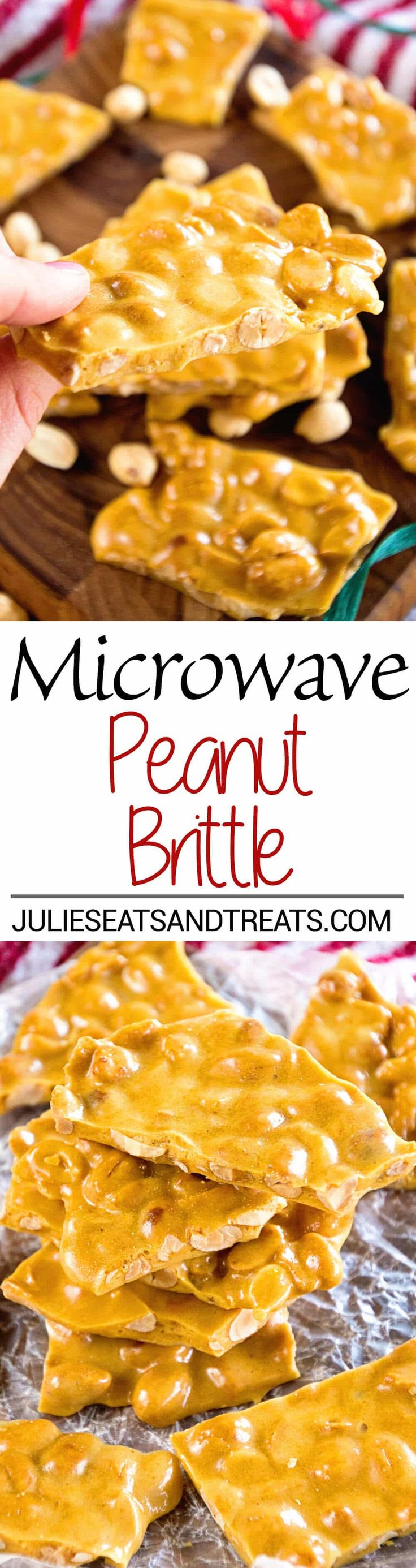 Microwave Peanut Brittle Recipe ~ Quick and Easy Christmas Treat that's Made in your Microwave! This Sweet is perfect for Goodie Trays! via @julieseats