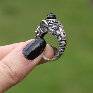 Gajah. Indian Elephant Sterling Silver Ring - diwali cards, decorations & gifts