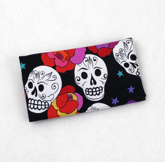 Day of the Dead Sugar Skulls Fabric Checkbook Cover with Pen by QuiltSewCover