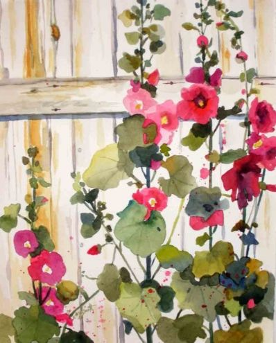 Hello Hollyhocks, painting by artist Kay Smith