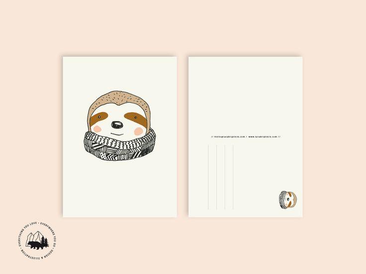 Sommer - Faultier   Postkarte - ein Designerstück von everywhereyougo bei DaWanda