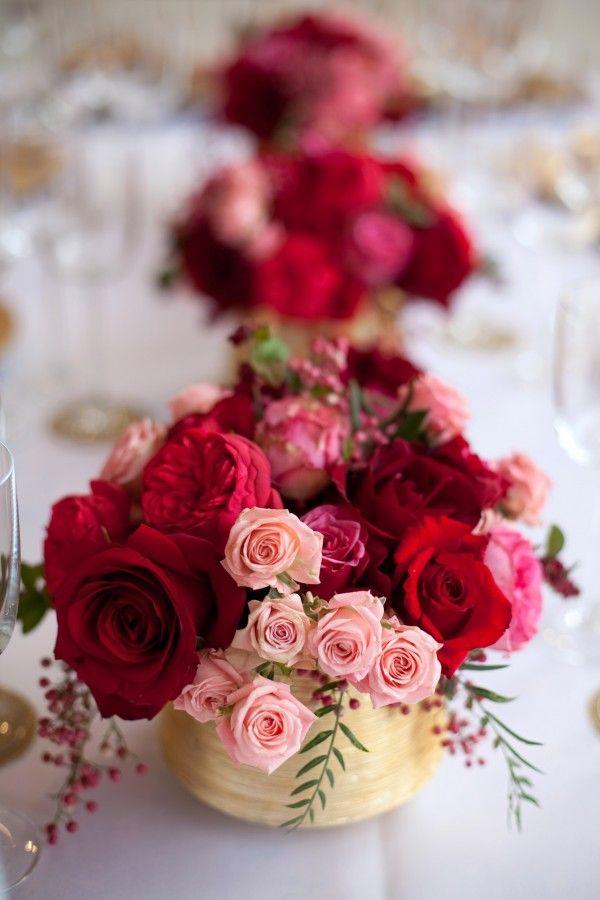 Red pink rose gold vase centerpiece rose gold red gold for Rose centerpieces for wedding tables