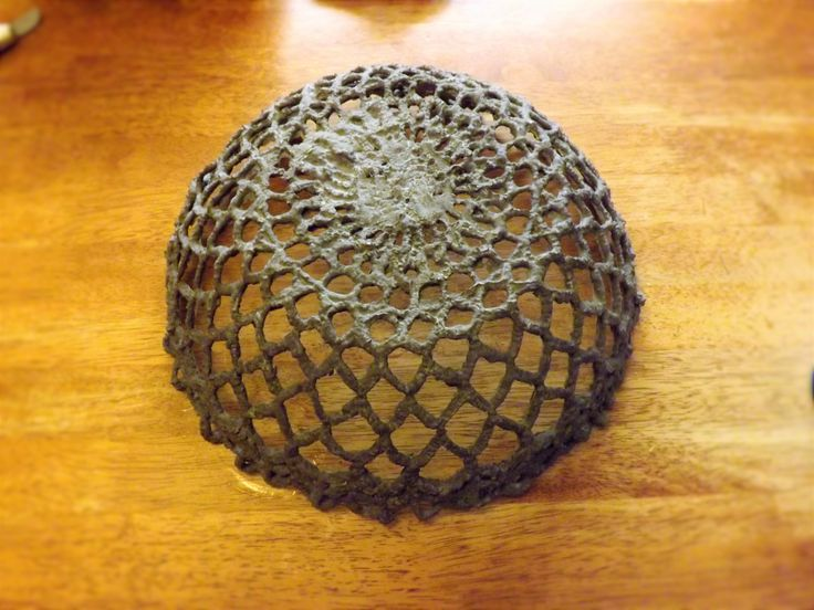 Cement lace bowl made from an old doily this was created by rhonda from sproutsandstuff