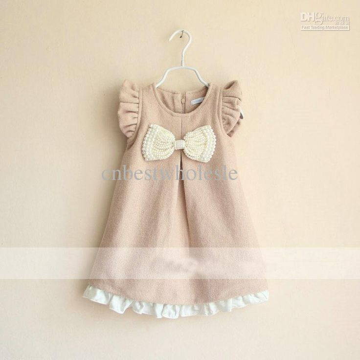 Wholesale Stylish Baby girls NEW wool spring autumn beige dress kids girl zipper Dresses with white pearls bowknot bow in the front, Free shipping, $16.3/Piece | DHgate
