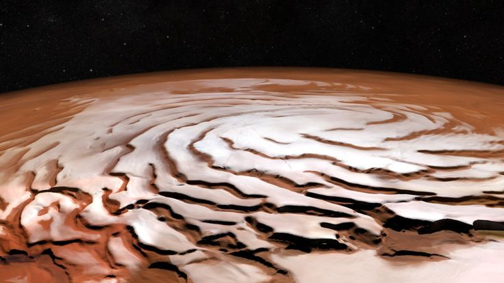 New mosaic of the north polar ice cap on #Mars. Created from 32 orbit strips Mars Express captured b/w 2004-2010.
