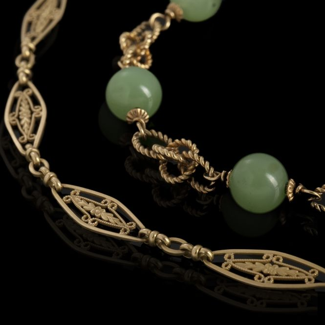 Gold and jade bracelet and gold necklace