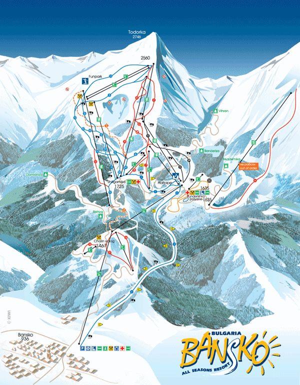 Ski Trail Map in Bansko Ski Center, Bulgaria