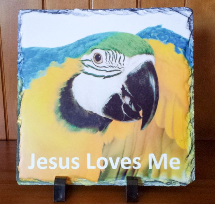 """Jesus Loves Me""    Handcrafted slate stone plaque with inspirational message, footrests and gift box included.    Limited stock available - http://www.biblestonesaustralia.com.au"