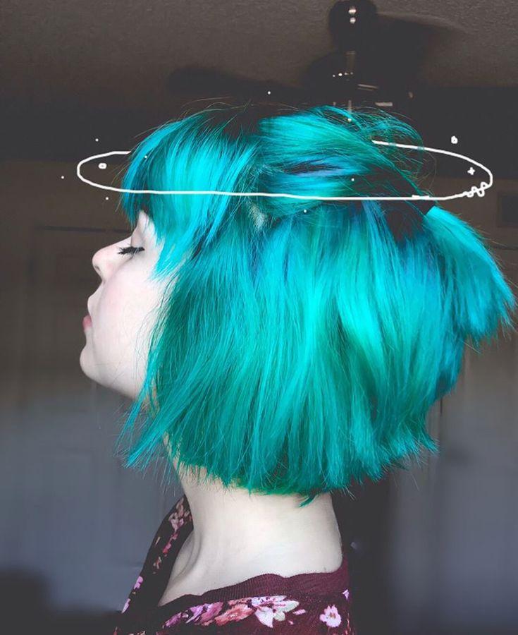 blue green aqua half up half down bob