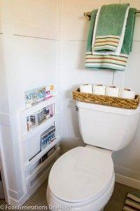 DIY Bathroom Decor Ideas - Bathroom DIY Magazine Rack Tutorial - Cool Do It Yourself Bath Ideas on A Budget, Rustic Bathroom Fixtures, Creative Wall Art, Rugs, Mason Jar Accessories and Easy Projects http://diyjoy.com/diy-bathroom-decor-ideas