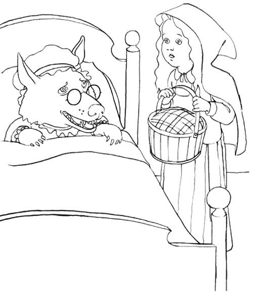 Little Red Riding Hood Wolf Sleeping Dog Coloring Page