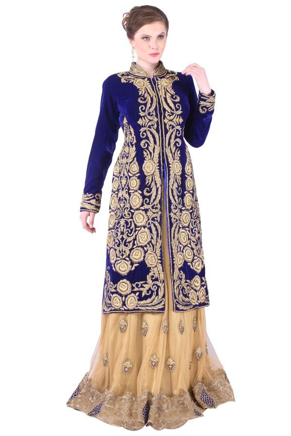Gold and Blue Velvette Jacket Lehenga  Buy now at: http://www.shadesandyou.com/product/gold-and-blue-velvette-jacket-lehnga/  #BridalLehengaCholi #LehengaCholi #BridalLehengas #DesignerLehengas