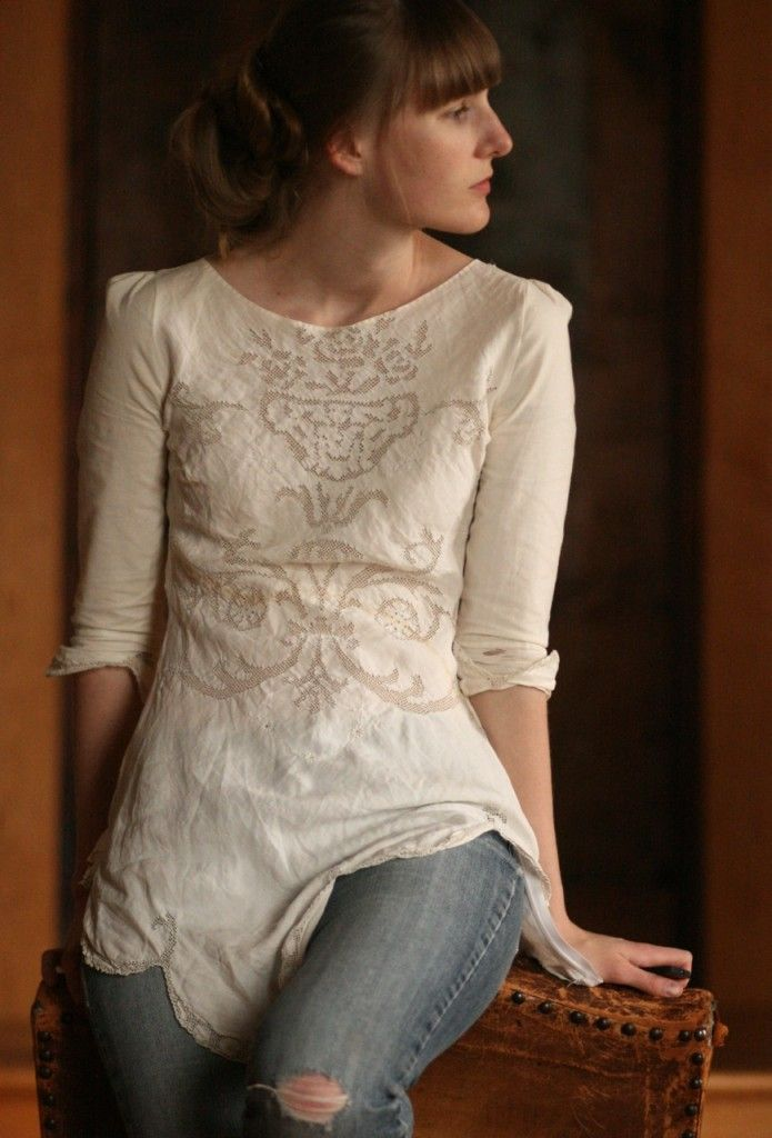 INSPIRE - beautiful shirt made from an old linen tablecloth from www.oneaviandaemo...  I really want to make a shirt like this!