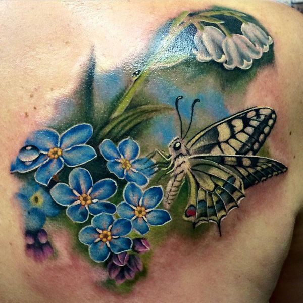 50 Butterfly tattoos with flowers for women | Tattoo Ideas ...