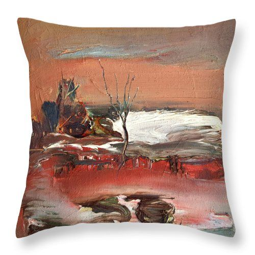 Landscape Throw Pillow featuring the painting Last Snow by Nikolay Malafeev