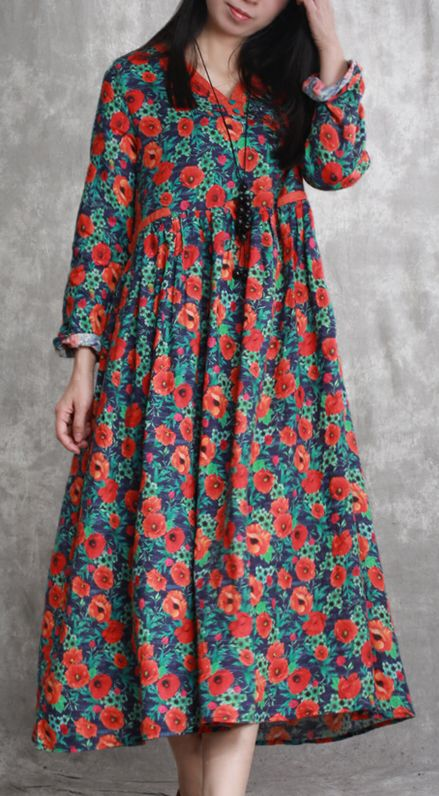 5477b06116 green orange floral linen caftans casual wrinkled linen maxi dress top  quality big hem caftans