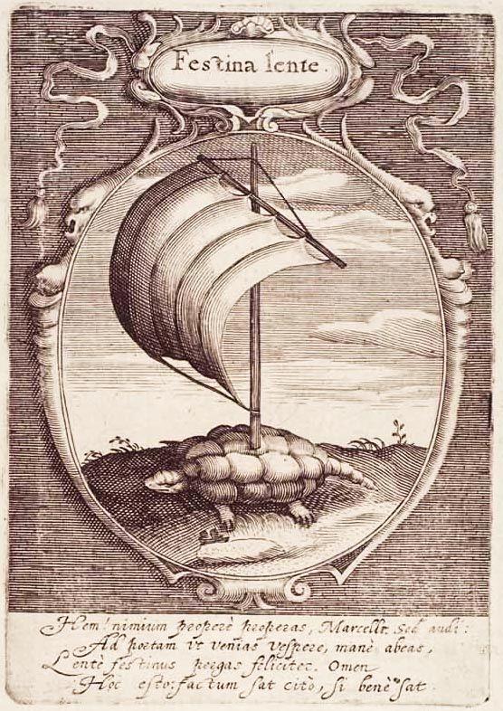 Festina lente (Affrettati lentamente) Il motto venne associato al simbolo della tartaruga con vela da Cosimo I de' Medici, che nel XVI secolo ne fece l'emblema della sua flotta, come monito di ponderazione delle imprese perché avessero successo. La tartaruga, animale famoso per la sua lentezza, ma anche sinonimo di prudenza, è abbinato alla vela gonfiata dal vento, ovvero ciò che spinge le navi, quindi sinonimo di forza d'azione. La frase fu scelta come motto da Aldo Manuzio.