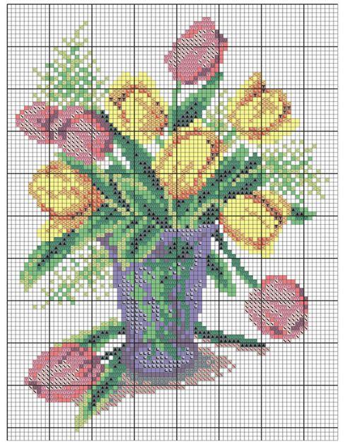 Схема весенние цветы