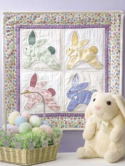 119 best easter quilts images on pinterest baby afghans baby free pattern vintage bunnies wall quilt negle Images