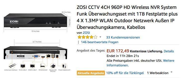 Zosi Cctv 4ch 960p Hd Wireless Nvr System Funk Uberwachungsset Festplatte Wlan Und Erfinder