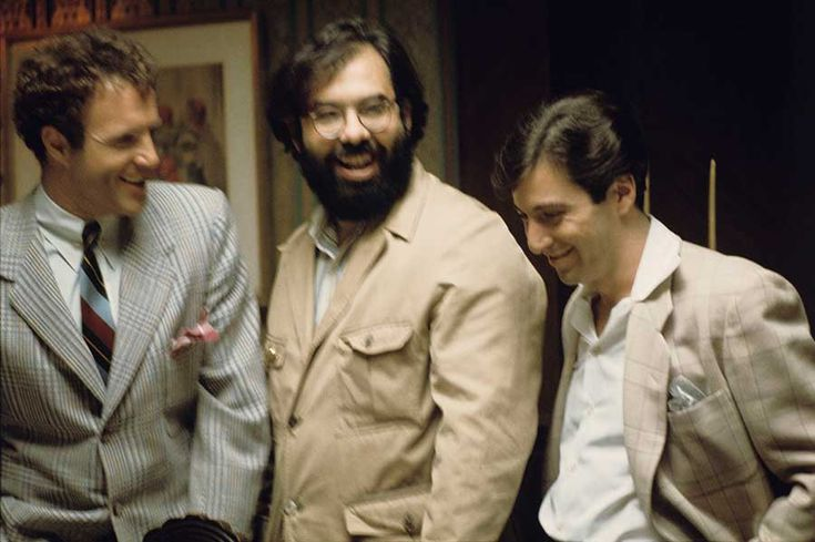 James Caan, Francis Ford Coppola and Al Pacino having a laugh on the set of The Godfather: Part II.