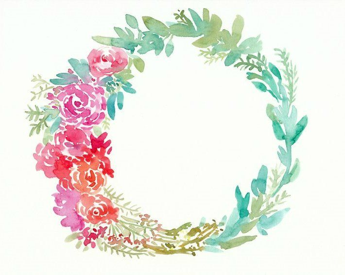 Paint a lush floral watercolor wreath to use as home decor, a logo or something…