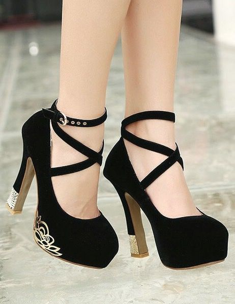 Cross Strap Black High Heels Shoes