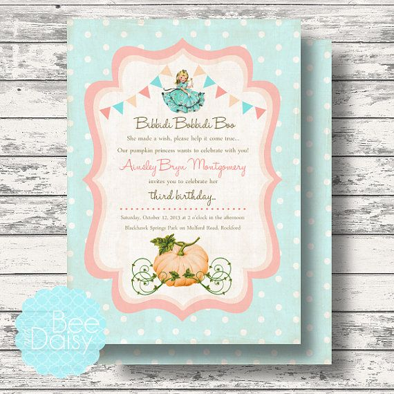 Vintage Pumpkin Princess Invitation for Birthday Party or Baby Shower -  DIY Cinderella Inspired Printable Invite by BeeAndDaisy