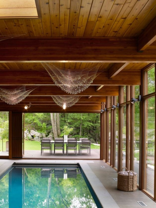 Two Level Contemporary Wooden Valley House Interior Design Indoor Swimming Pool With Fresh Outside View