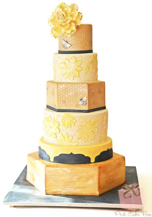 """Meant to Bee"" Wedding Cake by Pink Cake Box in Denville, NJ.  More photos and videos at http://blog.pinkcakebox.com/bee-honeycomb-inspired-wedding-cake-2013-09-22.htm"