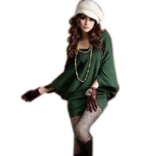 Amazon.co.jp: ドルマン スリーブ チュニック トップス カットソー レディース ブラック グリーン レッド 3colors: 服&ファッション小物