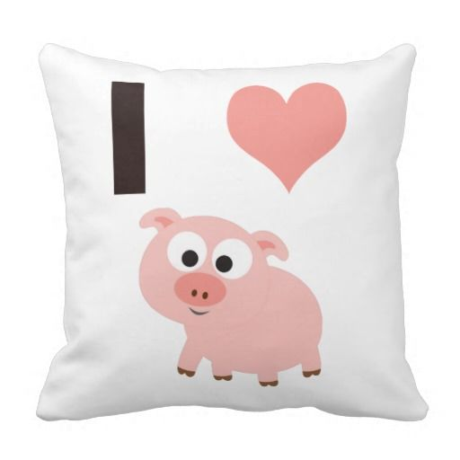 I heart pigs throw pillow