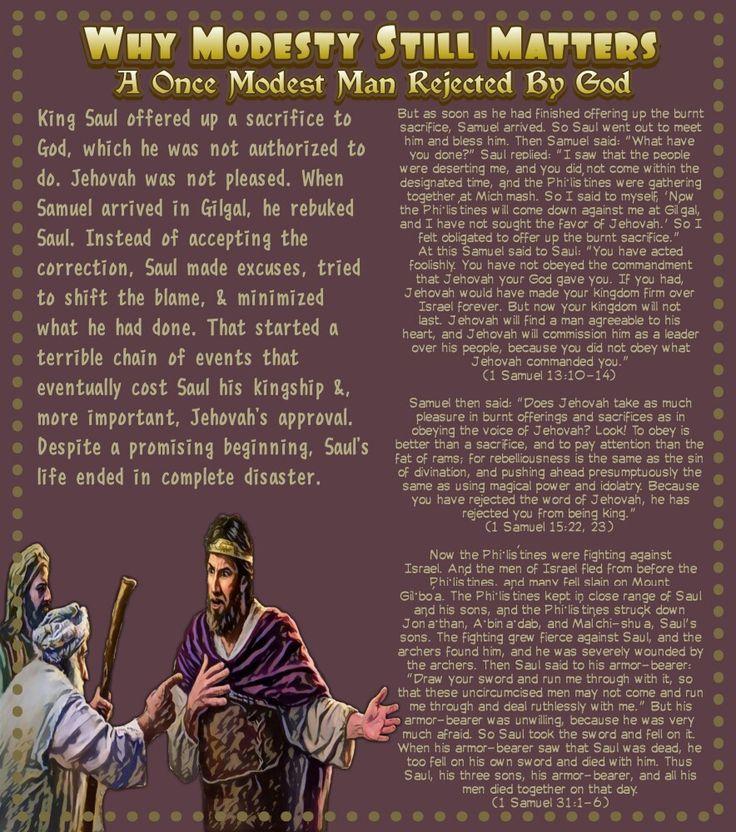 A Once Modest Man Rejected By God(1 Samuel 31:1-6)(1 Samuel 15:22, 23)1 Samuel 13:10-14)