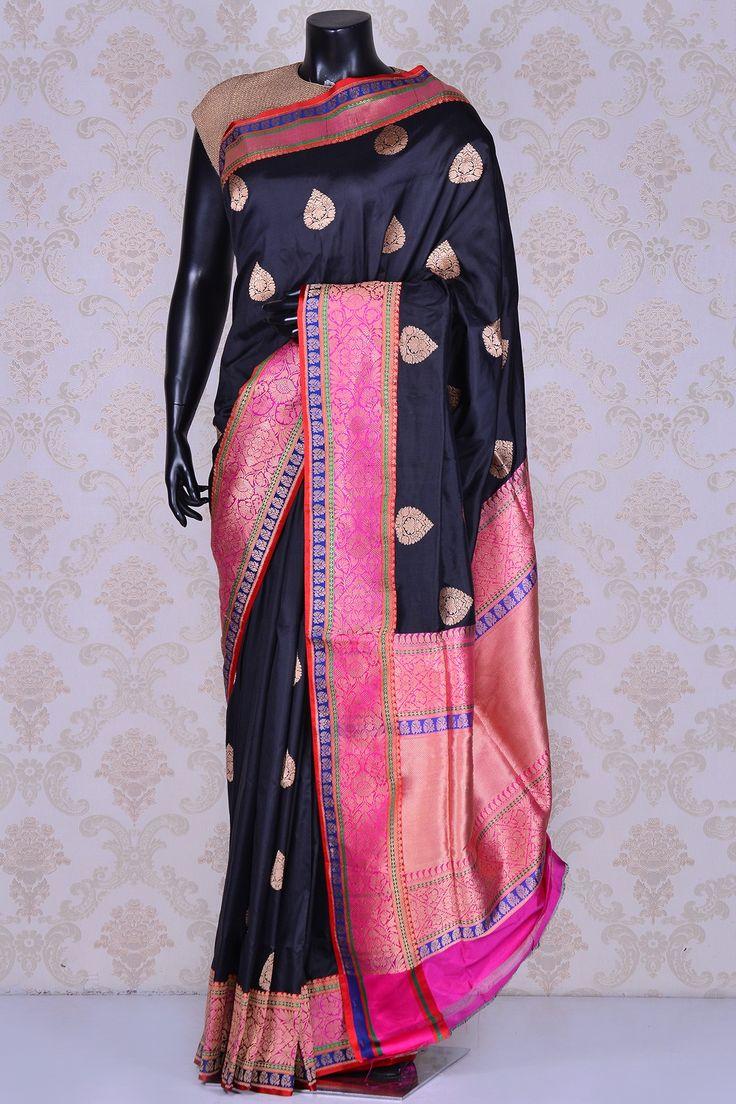 Black & dull gold classy banarasi silk saree-SR21296