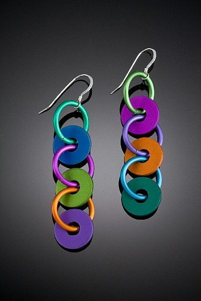 Anodized aluminum triple washer earrings handcrafted for Painting anodized aluminum
