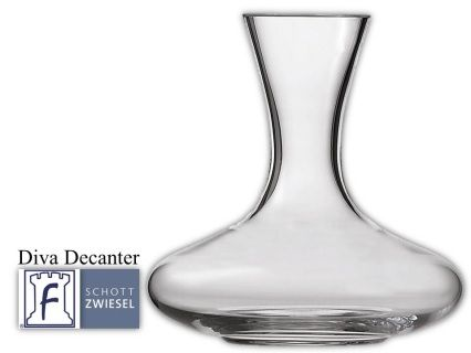 Diva Decanter 1 L-red 33.8(oz) 8.9(H) 8.8(W)  Tritan crystal glass:  non-lead material of titanium and zirconium oxide; resists breakage, chipping, scratching; thermal shock resistant; patented Red wine aerates as it flows down the sides in a beautiful pattern;  DISHWASHER SAFE will not etch, cloud or discolor for the life of the glass Made in Germany Product Code 0019.104112 SHIPPING IN CANADA ONLY!