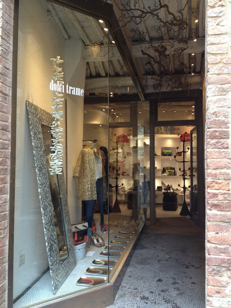Our beautiful window display in Siena! #dolcitrame #windowdisplay