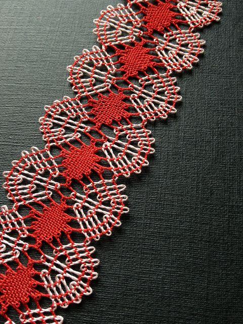 Bobbin Lace Bookmark FO by gotthebutton, via Flickr. Nice torchon color work.
