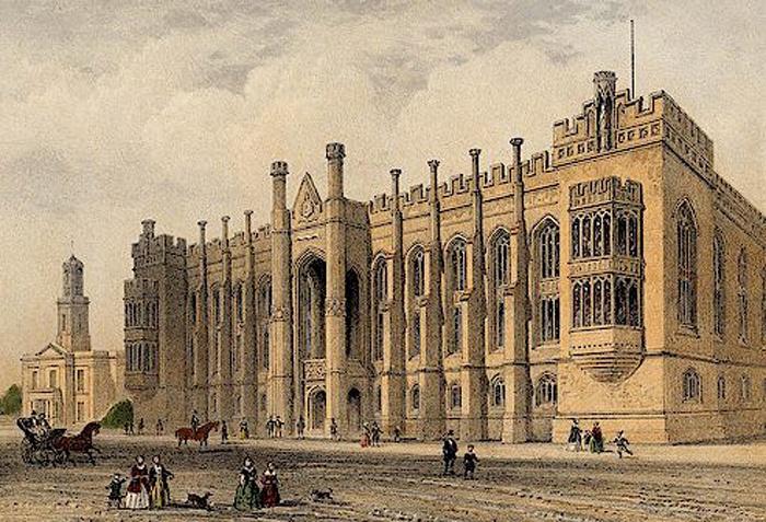 Bookplate illustration of the Liverpool Collegiate in 1854